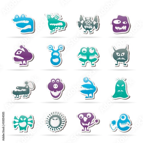 Spoed canvasdoek 2cm dik Schepselen various abstract monsters illustration - vector icon set