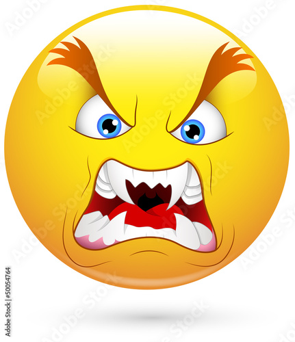 Smiley Vector Illustration - Angry with Big Teeth