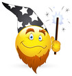 Smiley Vector Illustration - Wizard Face with Magic Wand