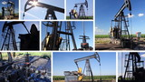 Oil Pump Jack in a field, collage