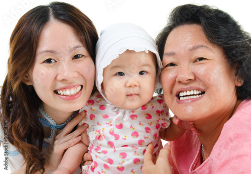 Three generations Asian family