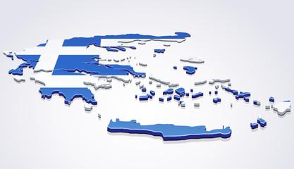 Carte de la Grèce 3D drapeau sur fond blanc