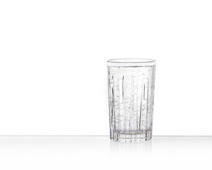 one clear glass with sparkling water