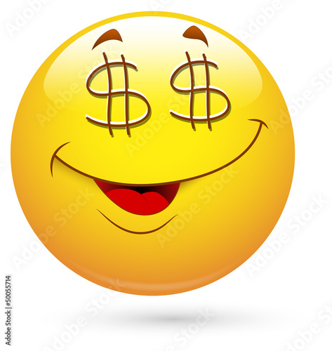 Smiley Vector Illustration - Dollar Eyes