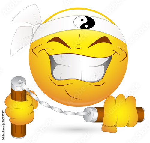 Smiley Vector Illustration - Japanese Nunchak Ninja
