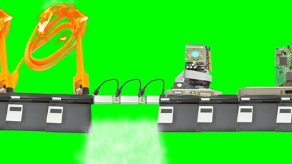 Platform of the components of the computer with green screen