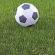 3d Soccer ball on football pitch