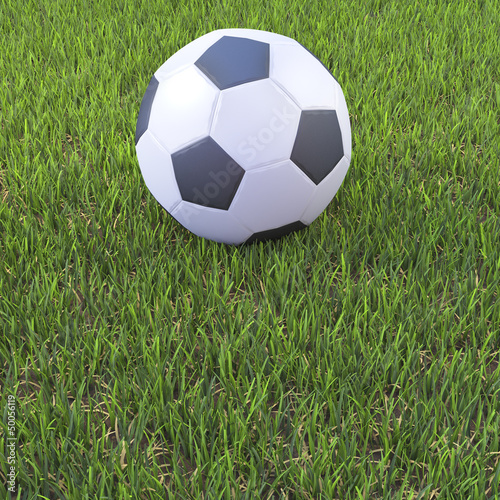 3d Soccer ball on football pitch