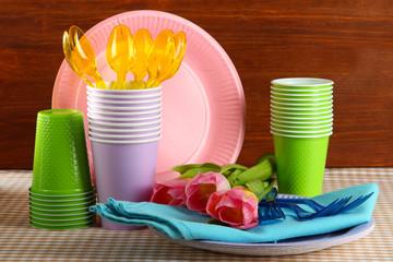 Multicolored plastic tableware