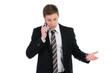 wütender geschäftsmann telefoniert