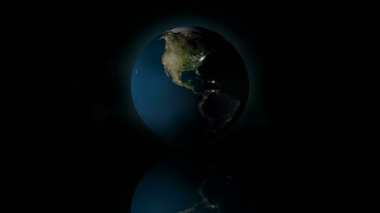 3D Earth with city night lights