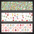 Collection of banners with abstract cute elements.