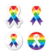 Rainbow flag ribbon - symbol of gay pride and support
