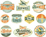 Aviation vector grunge vintage labels collection