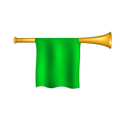Trumpet with green flag