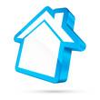 House Icon 3D White/Light Blue