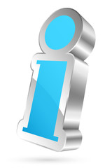 Information Icon 3D Light Blue/Silver