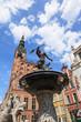Old historic Neptune Fountain in Gdansk, Poland.