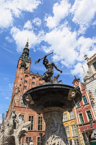 Old historic Neptune Fountain in Gdansk, Poland.