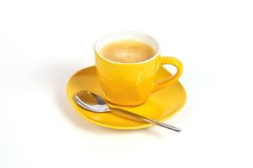 espressotasse gelb mit löffel