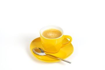 espressotasse gelb mit löffel 2