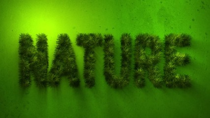 Animated grass in the shape of the word nature.