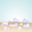 20 Easter Eggs Meadow Sky Easter Card Retro