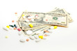 american paper currency and medical pill as pay medicine