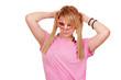teenage girl with mask posing