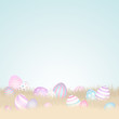 16 Easter Eggs Meadow Sky Easter Card Retro