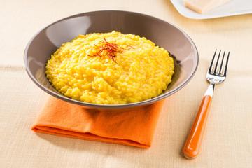 Risotto alla milanese - Saffron rice, closeup