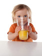 Little Girl drinking juice