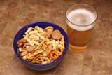 snack mix and beer