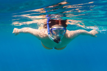 Young women at snorkeling in the Andaman sea