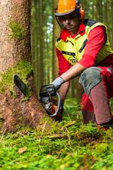 Forstarbeiterin in Schutzkleidung mit Kettensäge