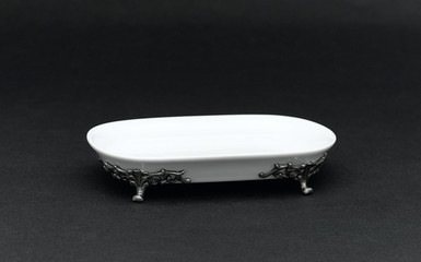 A beautiful small tray decorated by pewter