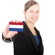 business woman holding a card with the Dutch flag