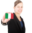 business woman holding a card with the Italian flag