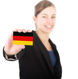 business woman holding a card with the German flag