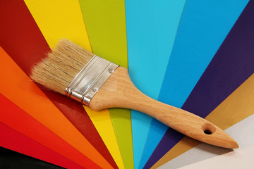 paint brush on color background.