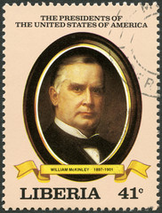 LIBERIA - 1982: shows President William McKinley (1897-1901)