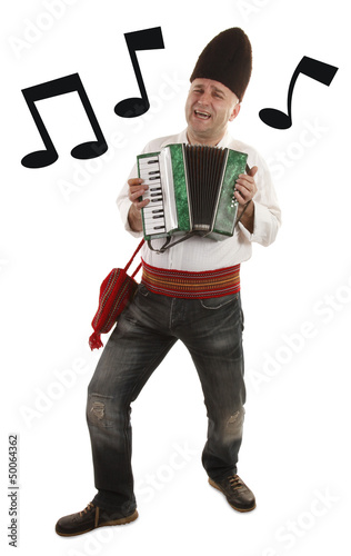 Accordionist traditional harmonica player