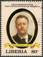 LIBERIA - 1982: shows President Theodore Roosevelt (1901-1909)