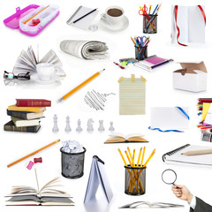 education objects isolated on white background