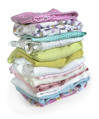 stack of cloth isolated on white