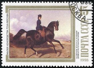 Horsewoman Riding an Orlov-Rastopchinsky , by N.E. Sverchkov