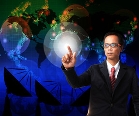 business man pointing to world map with telecommunication backgr