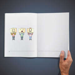Kids whit cardboard of emotions printed on white book.