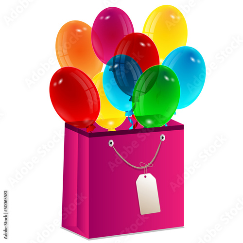 balloons are in a gift package