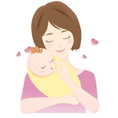 女性 赤ちゃんを抱く